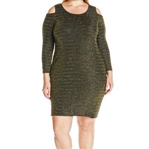 Ny Collection Black Gold Metallic Cold-Shoulder